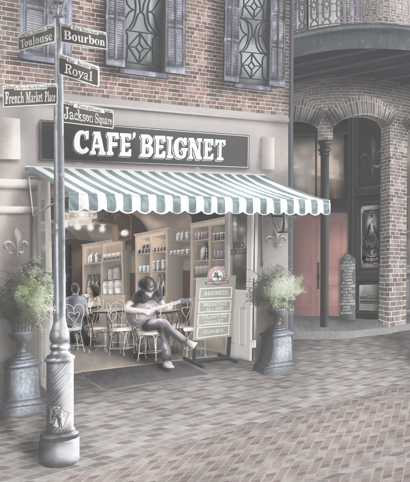 Section of the New Orleans wall mural wallpaper design. Featuring Cafe Beignet and New Orleans street sigs like Rue Bourbon, Rue Royal, Rue Toulouse, Jackson Square, French Market Place, voodoo and much more!