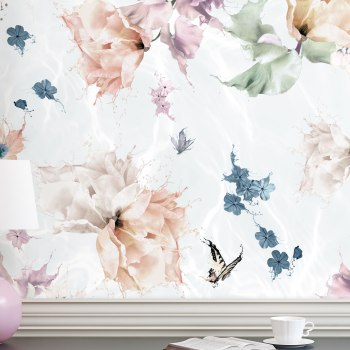 A romantic butterfly, flower and dragonfly Interior Wallpaper wall mural. Styled in a french provincial home with console table. It is a magnificent statement wallpaper design in colours of blue, sage green, light pink, orange, blue and white.