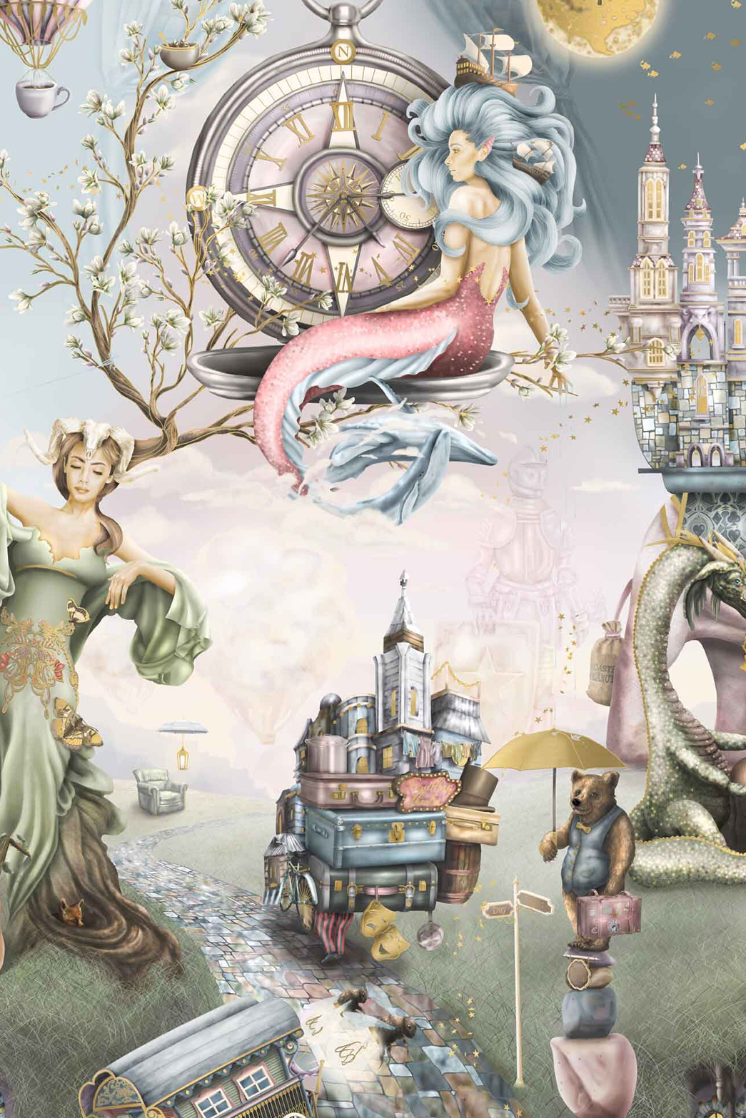 This is a Whimsical Fairytale Girls Wallpaper wall Mural from Australia. It features a mermaid, mother nature, bear, dragon, night, sky, clock, hot air balloons and many more illustrations. The colours are pink, purple, sage green, steel blue and gold, although this is custom bespoke wallpaper so colours can be changed.