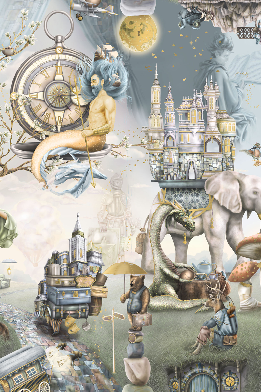 This is a boys fairytale woodland forest wallpaper wall mural design from Australia. It fetaures story book illustrations suchs as a male mermaid, merman King Triton, castle, knight, dragon, elephant, bear, deer, frog, night sky, moon, hot air balloons, plane. In colours of sage green, steel blue, gold, grey, blue, orange.