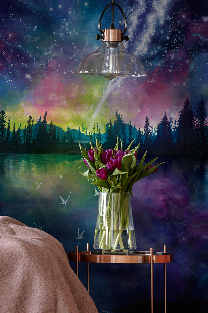 Custom Beautiful Watercolour Art Interior Wallpaper Night Galaxy Lake