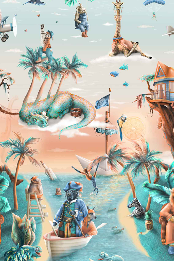This is a kids jungle animals wallpaper wall mural design from Australia. It has a tropical island theme with palms trees, treehouse, dinosaurs, pirates, giraffes, hippos, boats etc. It has a fantasy design in colours of blue, beige, orange, yellow, aqua, turquoise.