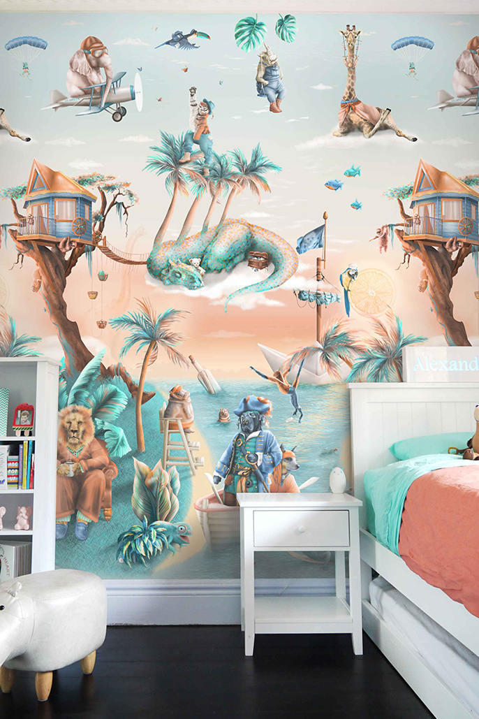 This is a kids custom bespoke jungle animals vinyl wallpaper wall mural design from Australia. It has a tropical island theme with palms trees, treehouse, dinosaurs, pirates, giraffes, hippos, boats etc. It has a fantasy design in colours of blue, beige, orange, yellow, aqua, turquoise.