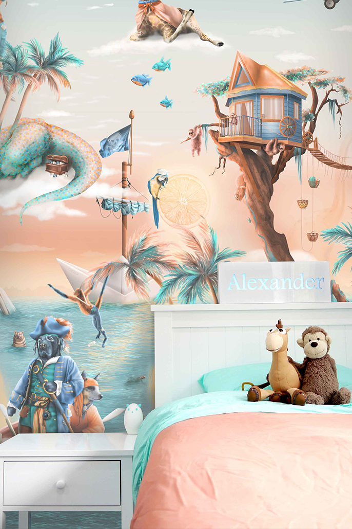This is a kids jungle animals wallpaper wall mural design from Australia. It has a tropical island theme with palms trees, sloths treehouse, treasure, pirates, fish, monkeys, boats etc. It has a fantasy design in colours of blue, beige, orange, yellow, aqua, turquoise.