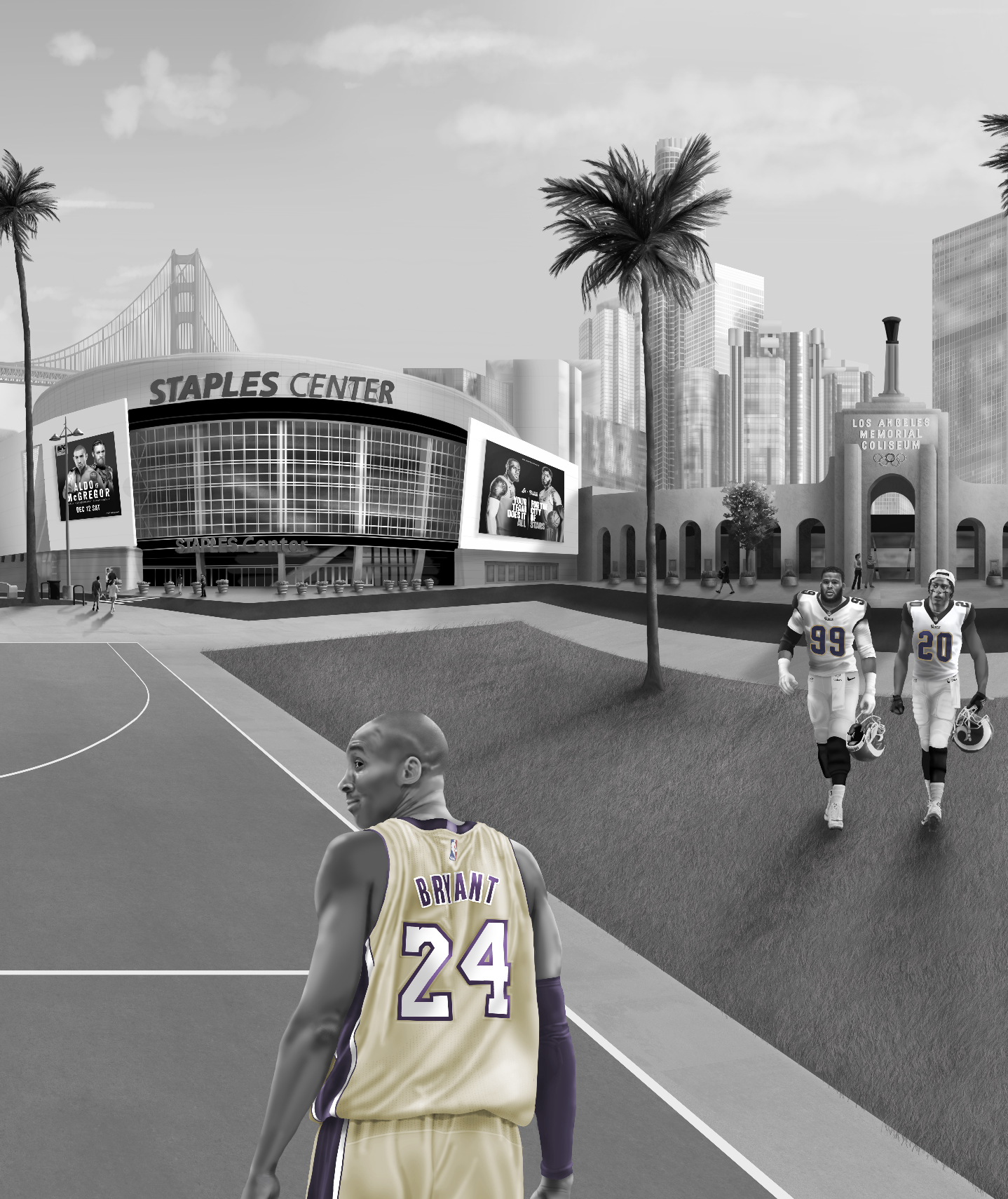 Custom LA LOS ANGELES wall paper wall mural deisgn from australia. Features the staples centre, downtown LA, football, baseball, basketball, Lakers court, palms trees. All set in Grey tones with pop colours