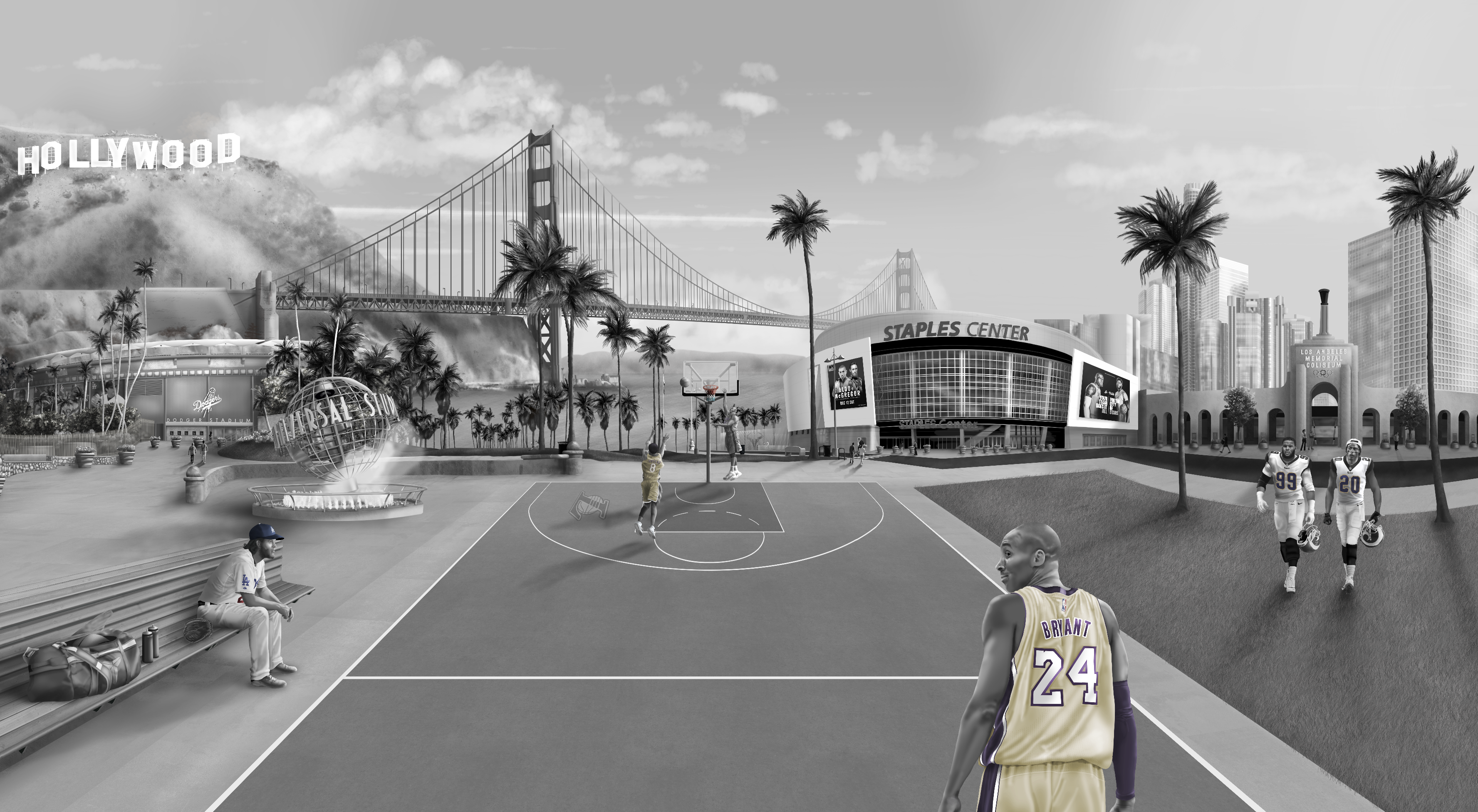 This is a custom Los Angeles wall Mural wallpaper design from australia. It features tributes to sport such as baseball, basketball, football themes. Including shaquille o-neal, Kobe Bryant, Clayton Kershaw, Aaron Donald, Jalen Ramsey, Staples centre, dodgers. los angeles coliseum, Down town LA, Golden Gate Bridge, Hollywood sign.