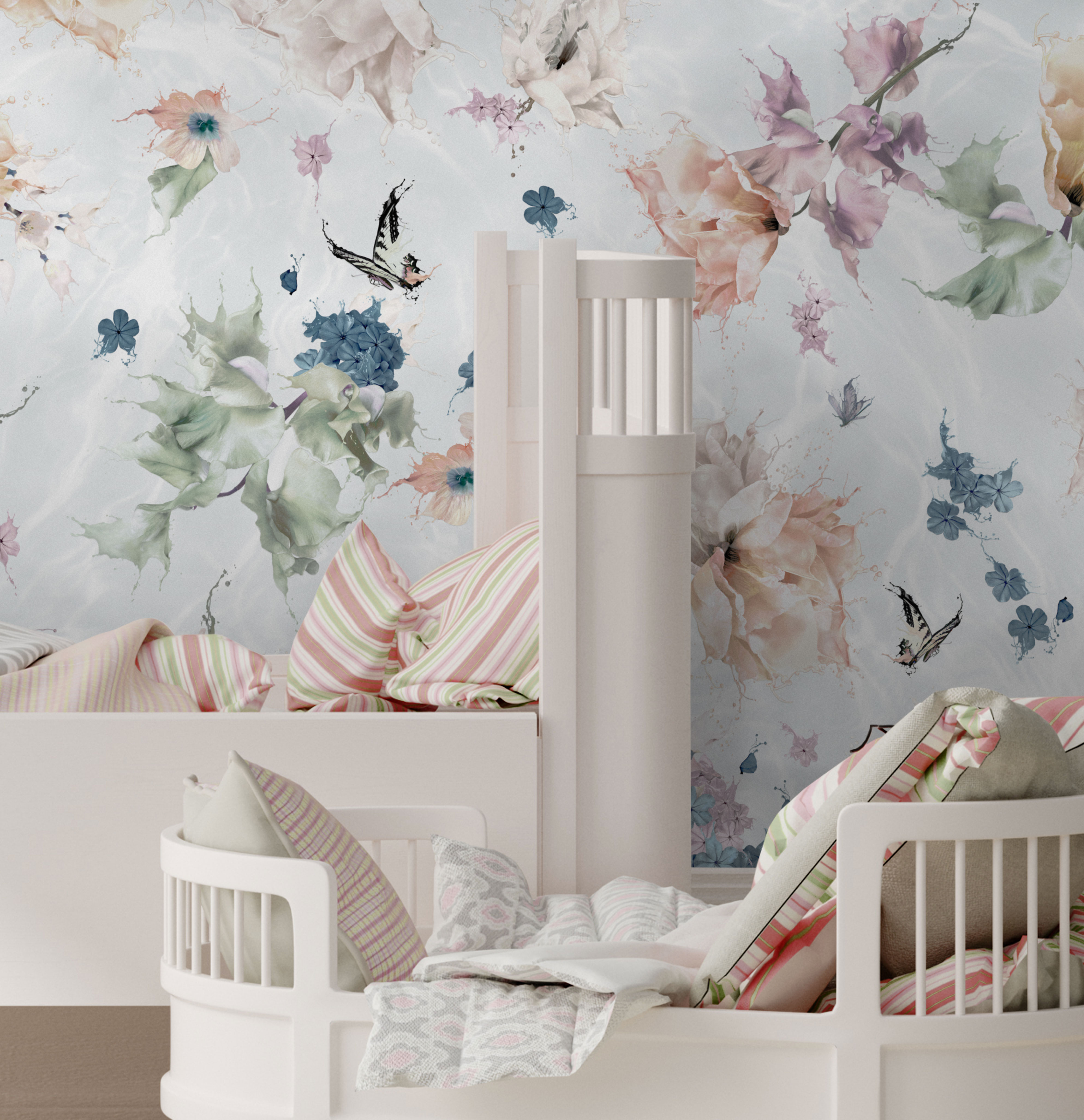 kids butterfly and floral wallpaper