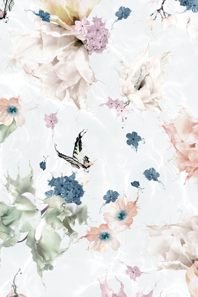 Beautiful Interior Wallpaper Flowers butterfly and Dragonfly