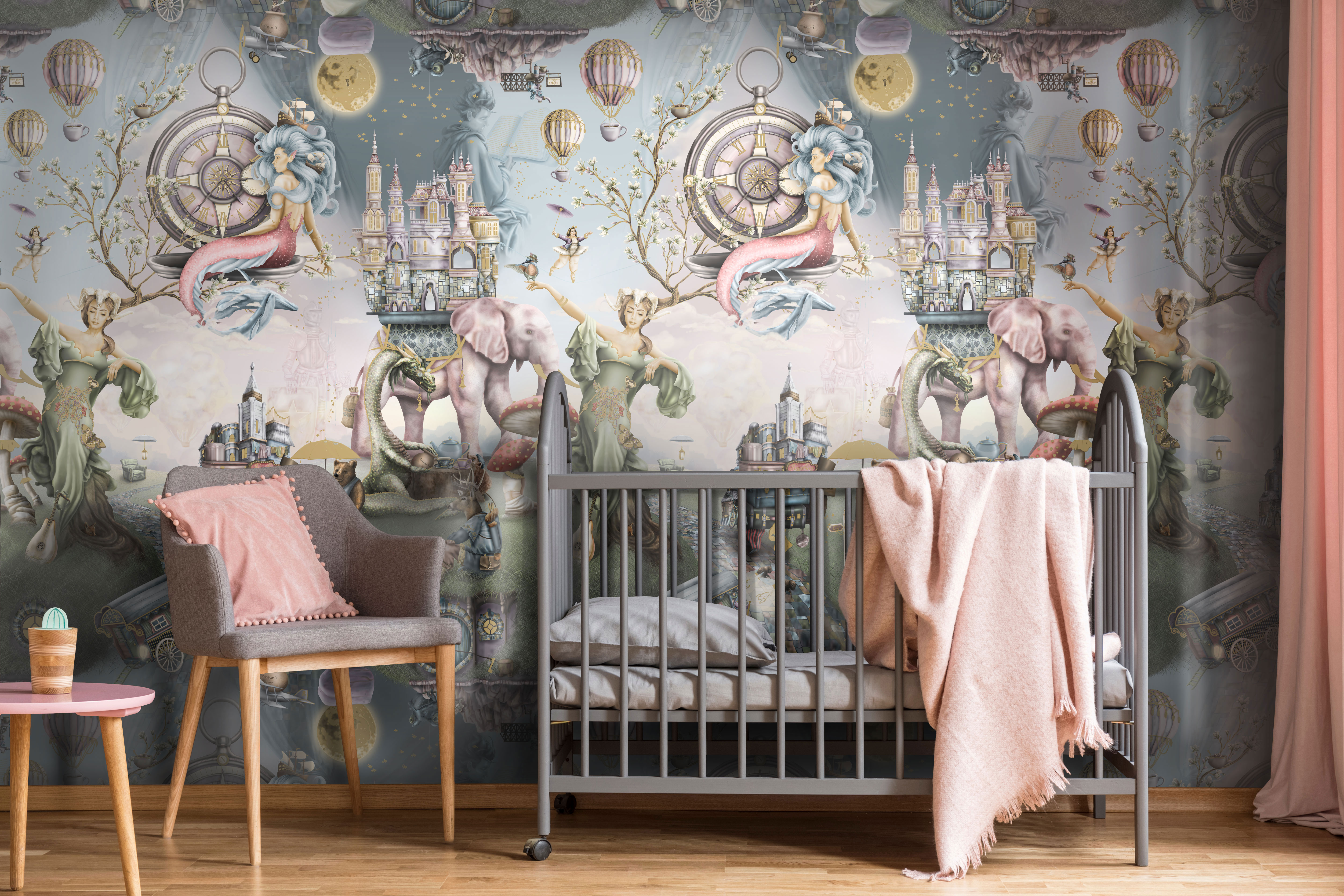 A Fairytale girls interior Wallpaper inspiration photo. Featuring grey and pink themed bedroom furniture, grey cot/crib and magical wallpaper!