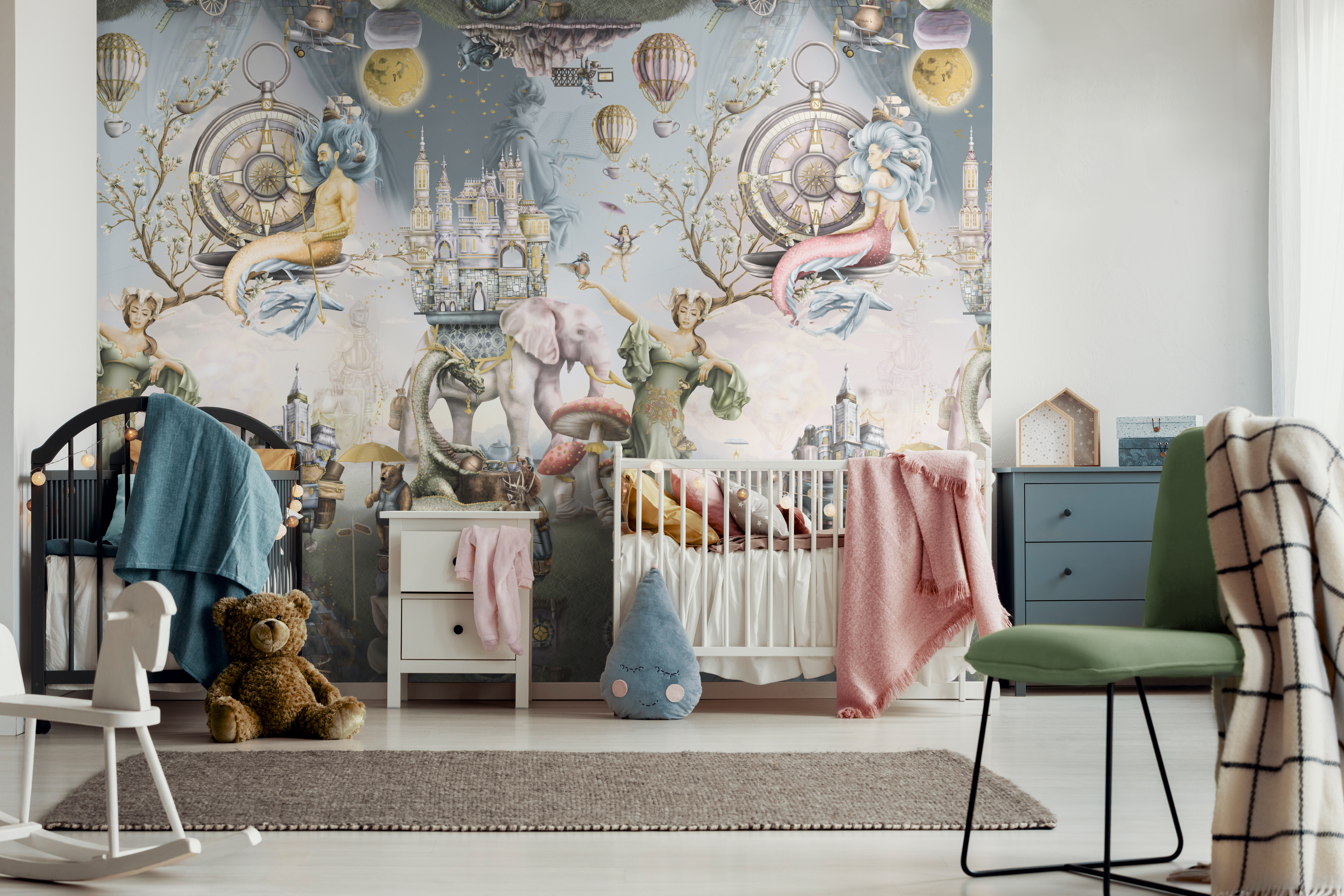 Boy and girl twins that are sharing a nursery. Fairy tale wallpaper wall mural design. Bedroom inspiration! Twin share room.