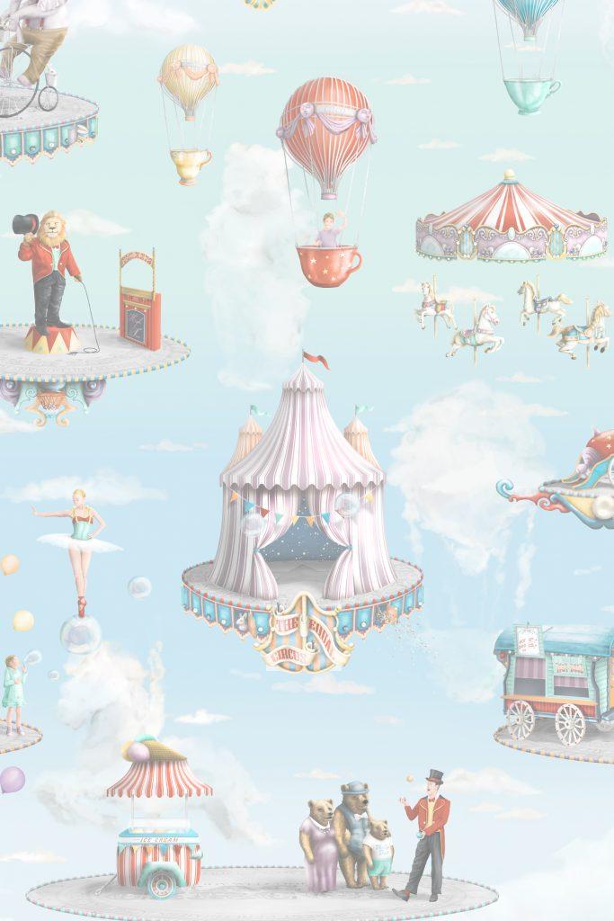 This is luxury designer kids wallpaper from Australia. It features a Circus in pastel colours and has illustrations of a new age modern circus where animals and people are in harmony. Magical illustrations like carousel, bear, juggle, hot air balloons, sky, cloud, lion, ballerina and more! It is a unisex nursery or bedroom wallpaper style theme.