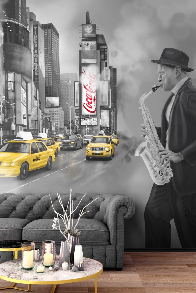 Custom New York Times Square Cab Jazz Player