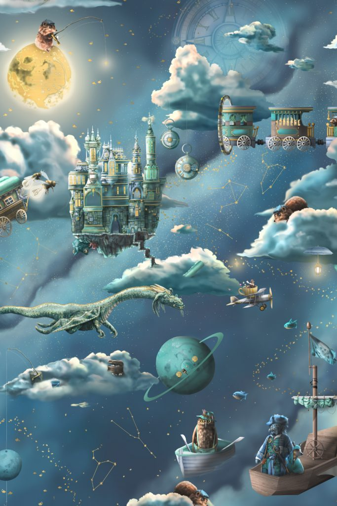 This is a kids galaxy interior wallpaper wall mural design from Australia. It featurs the night sky, moon and space. It has amazing illustrations like a pirate ship, fishing theme, trains, castle, dragon, planes moon, compass, time and much more!