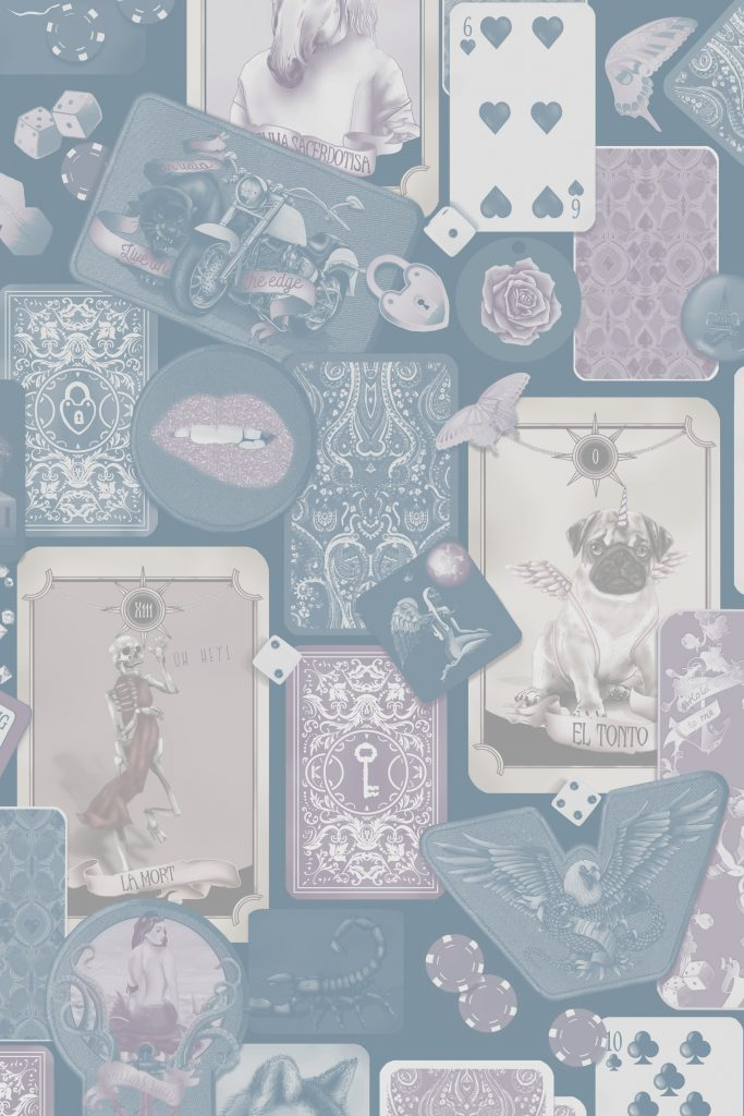 Stunning and gorgeous Quirky interior wallpaper for decorating. in custom colours of steel blue, pink, beige and white. features quirky tarot cards, rock n roll, lips and funky items,