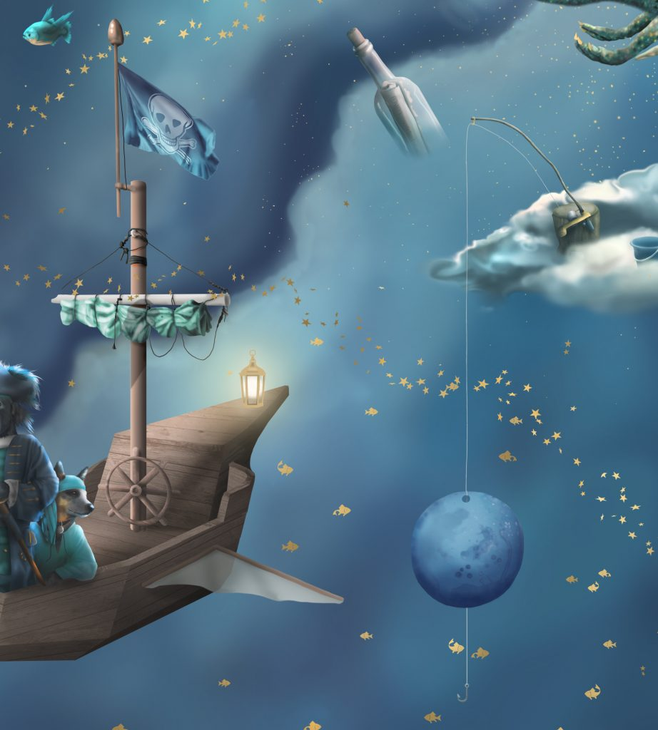 An section image of Space For The Moon kids wallpaper wall mural. Showing Fishing and water elements such as a message in a bottle, fishing rod, fish, galaxy pirate and more!
