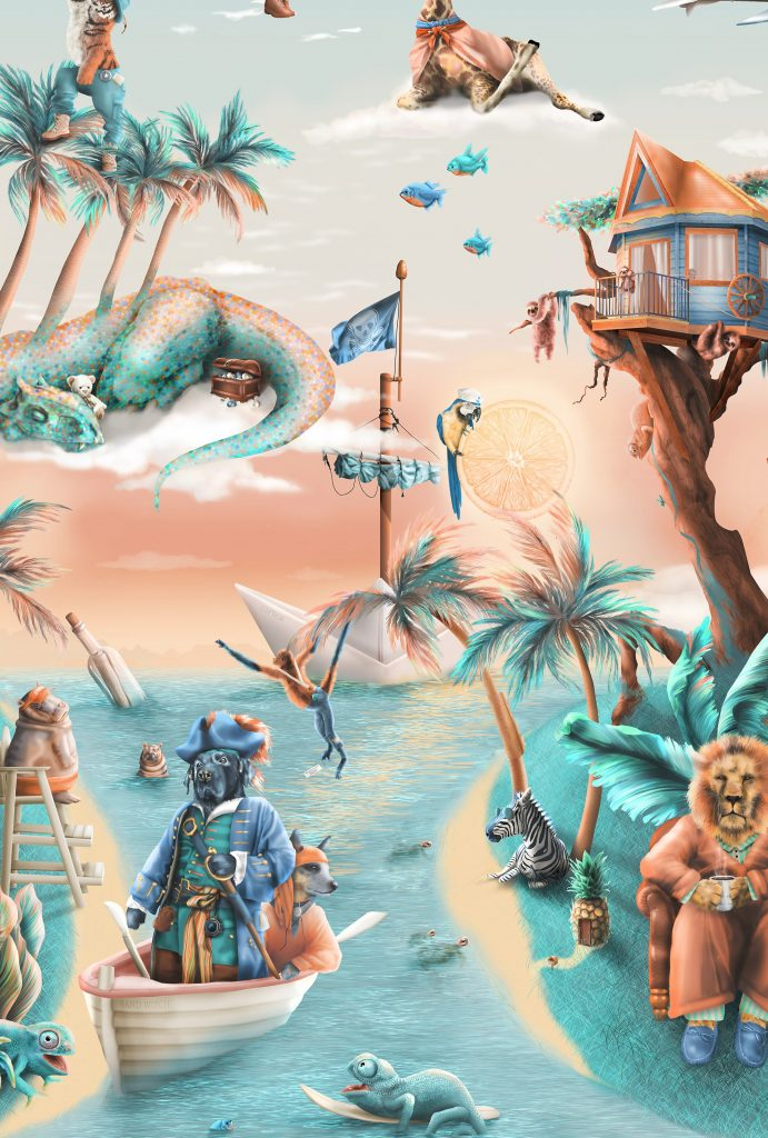 A Custom Kids Fun Adventure Wallpaper Mural design from Australia. It features Jungle animals such as pirates, lions. giraffes, sloths, tree house, elephants, pirate ship, hippos, dinosaurs. In awesome colours of aqua, orange, blue, turquoise.