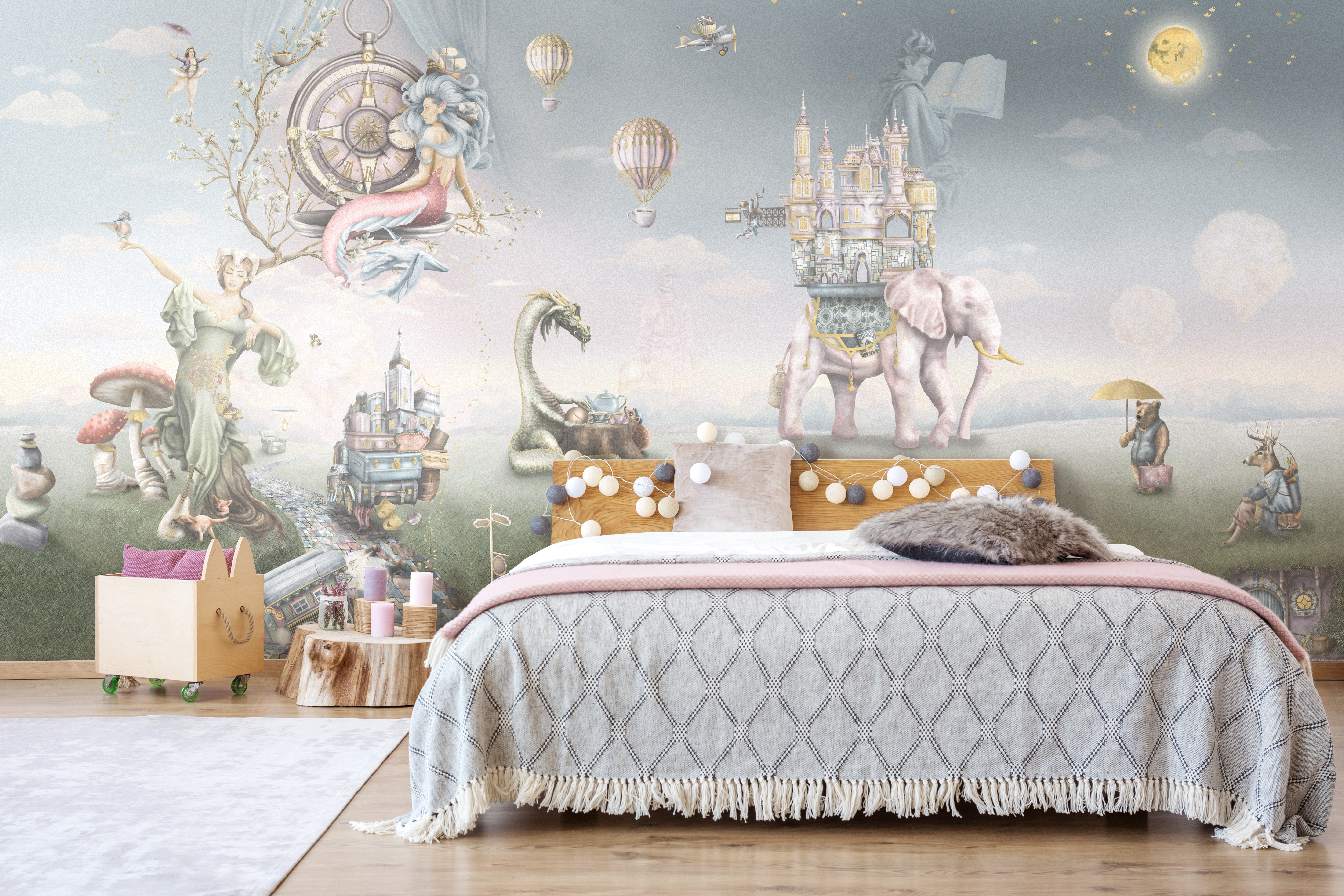 Dreamy Pastel Fairy Tale Kids Interior Decorating Wallpaper Wall Mural, Woodland creatures style with mermaid, dragon etc.