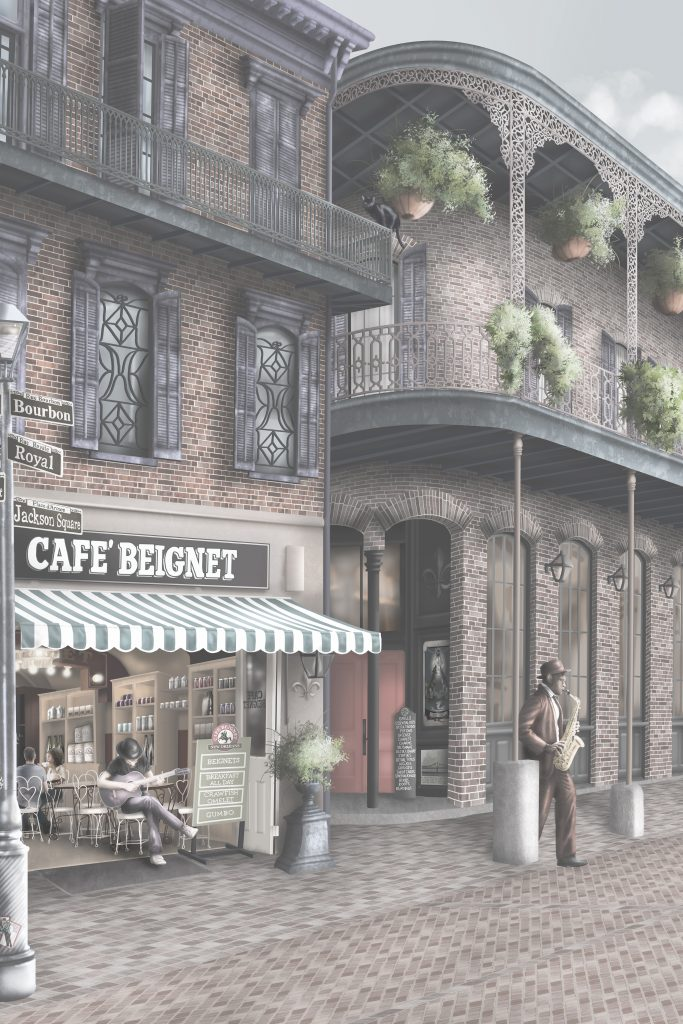 This is a custom statement wallpaper wall mural design set in the streets of New Orleans. New orleans buildings and back streets, such as Cafe Beignet, Vampire Jacques Saint Germain, musicians, street signs and much more. Set in grey tones with washed out colour