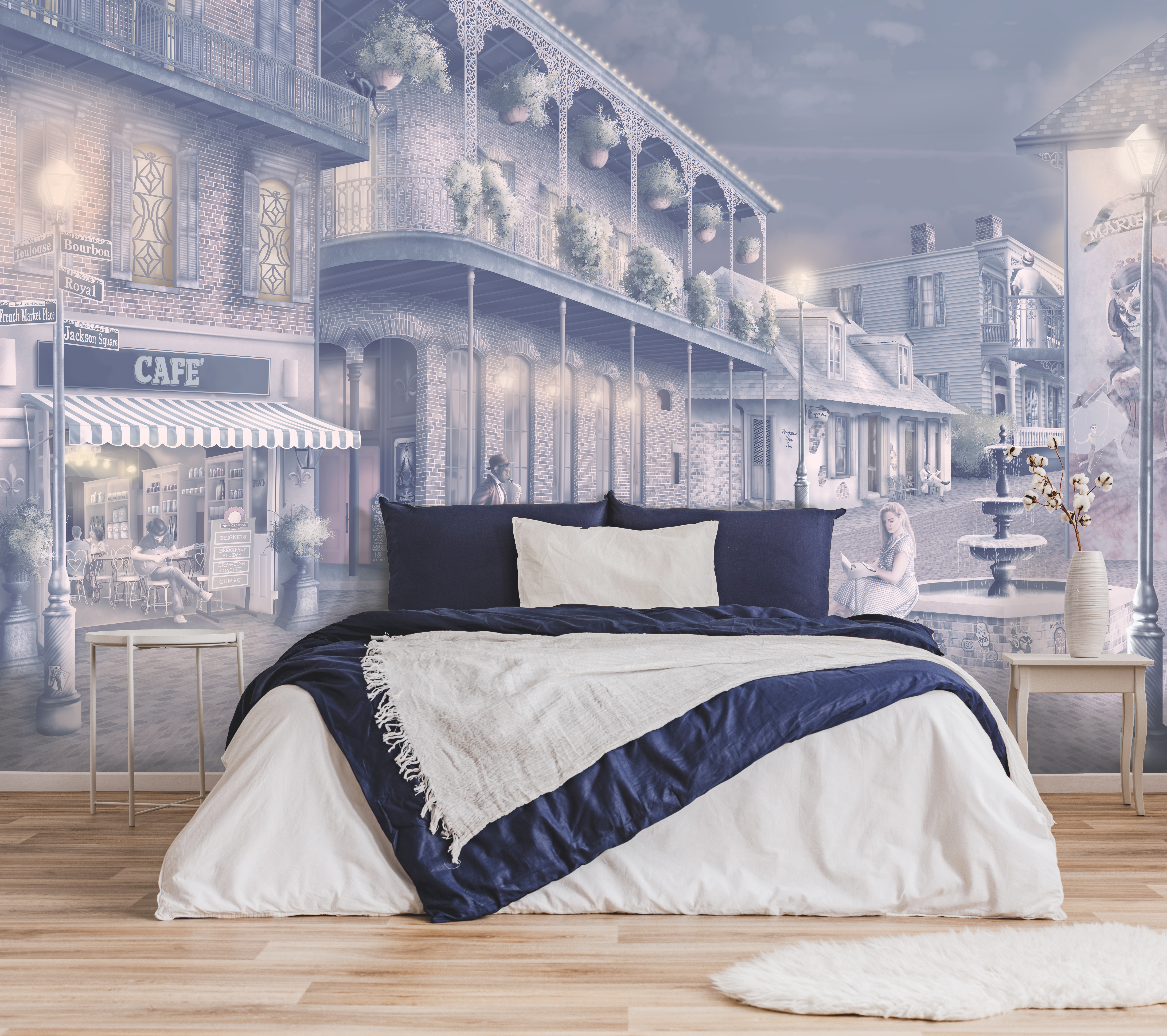 Wallpaper in warm navy-blue, cream, beige, purple, pink.  A romantic Wallpaper design set in the streets of New Orleans at night withs lights. Featuring musicians, voodoo art, cafes and more.  Beige warm wood flooring, navy and white bed linen with white furniture.