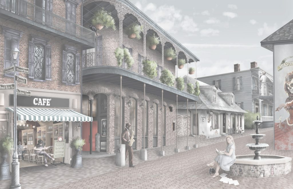 Custom landscape New Orleans interior wallpaper wall mural. In soft washed out colours. Featuring Iconic New Orleans street, buildings and style with a touch of voodoo!