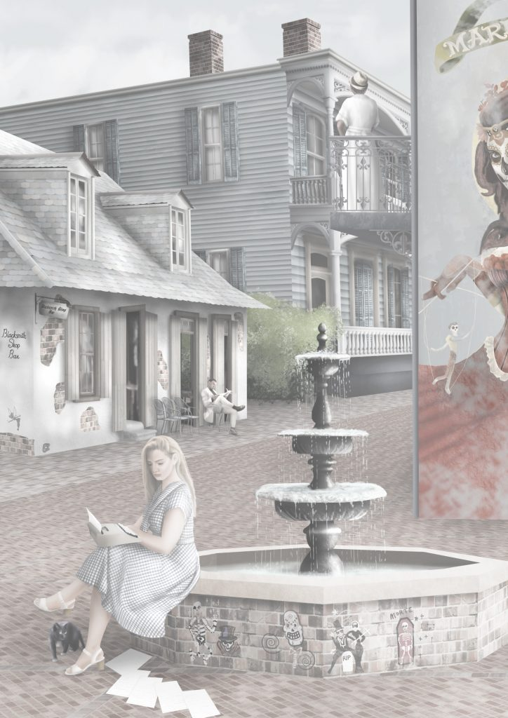 Street view of Fantasy New Orleans interior decorating wallpaper wall mural featuring iconic buildings with New Orleans Voodoo style and flavour.  In washed out colours