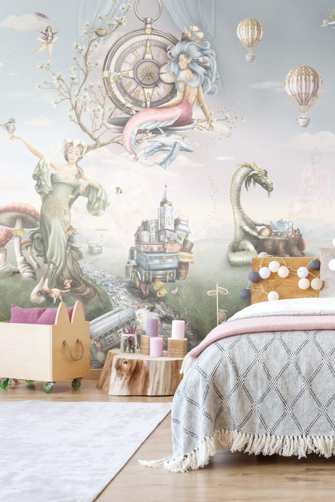 A stunning fairytale bedroom fit for a princess! Features a custom wallpaper mural with a mermaid up a tree, Mother Nature. In soft pastel colours