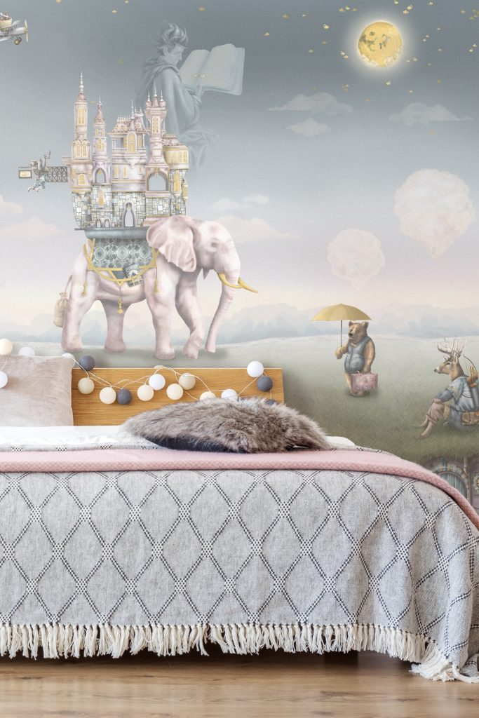A stunning fairytale bedroom fit for a princess! Features a custom wallpaper mural with an elephant, bear, deer, moon and dusk sky. In soft pastel colours