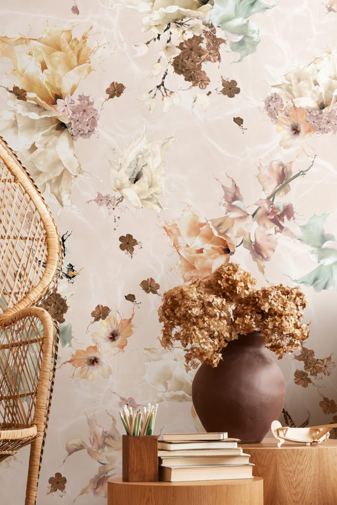 A beautiful kids bedroom with a stunning wallpaper in warm natural earth tone rustic colours. Features a floral and butterfly design for interior walls with a surrealist twist! Girls bedroom inspo with rattan furniture.