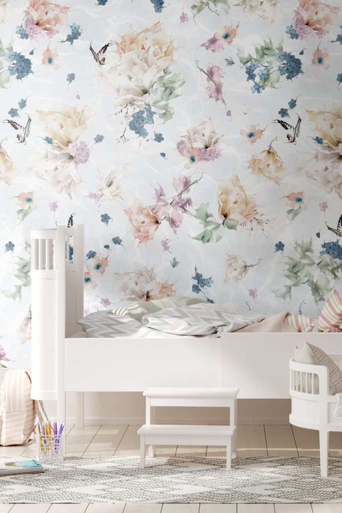 Floral Butterfly Dragonfly Kids Girls Wallpaper Bedroom Nursery