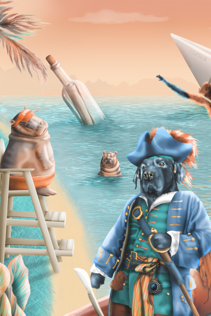 Section of Jungle Dreams Interior Wallpaper Wall Mural Design, lifeguard hippos, dog pirate, monkey, message in a bottle, jungle island. In colours of blue, turquoise, orange, yellow, aqua. brown, red brick, dust red