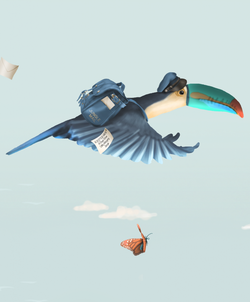 Jungle Dreams wallpaper featuring a tucan dressed as a postman and delivering some mail with a harry potter reference