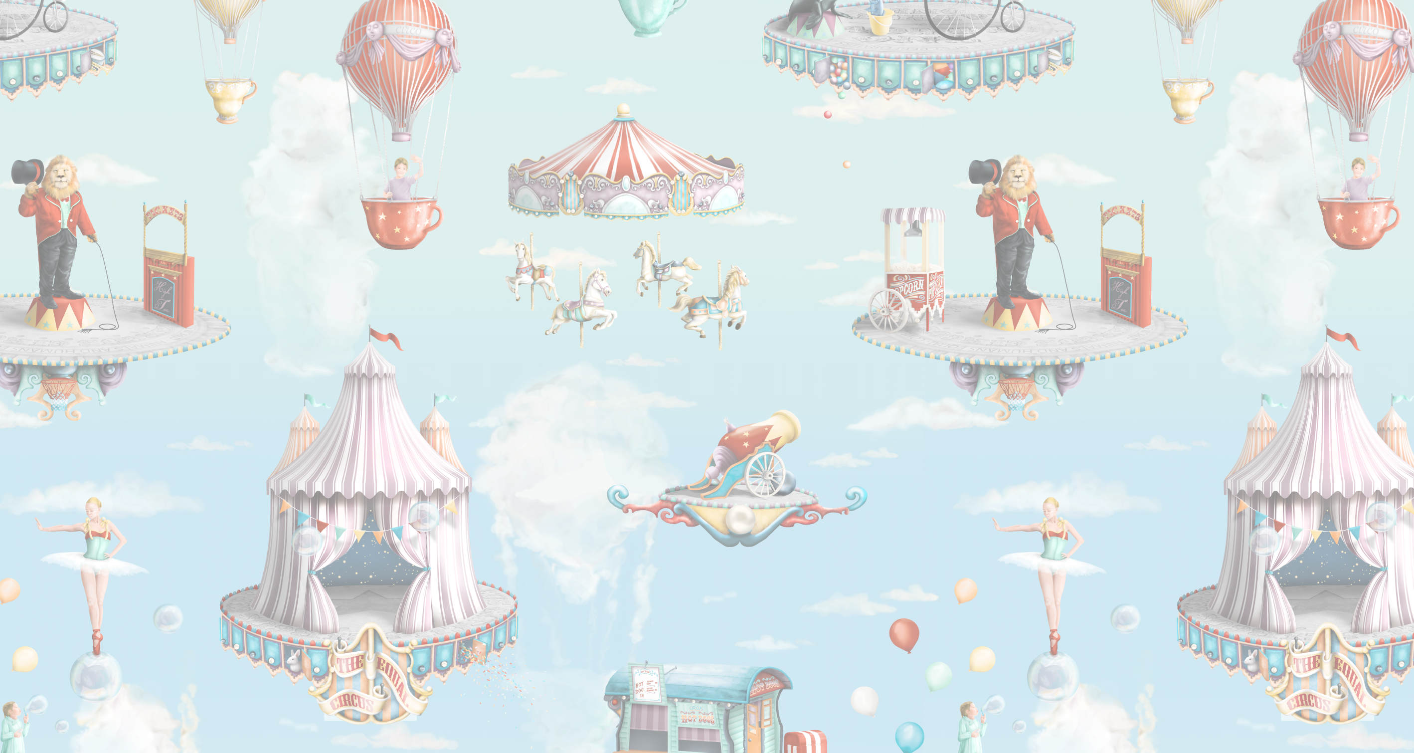 Kids equal fantasy circus wallpaper mural in pastel and aqua colours. Set in the sky where there is harmony between animals and humans. Clouds make different circus shapes.