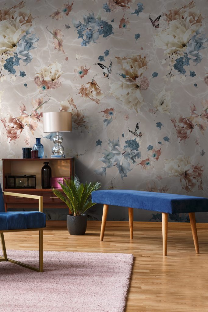 Luxury floral and butterfly designer interior decorating wallpaper. In warm custom colours of beige, navy blue, brown and white.