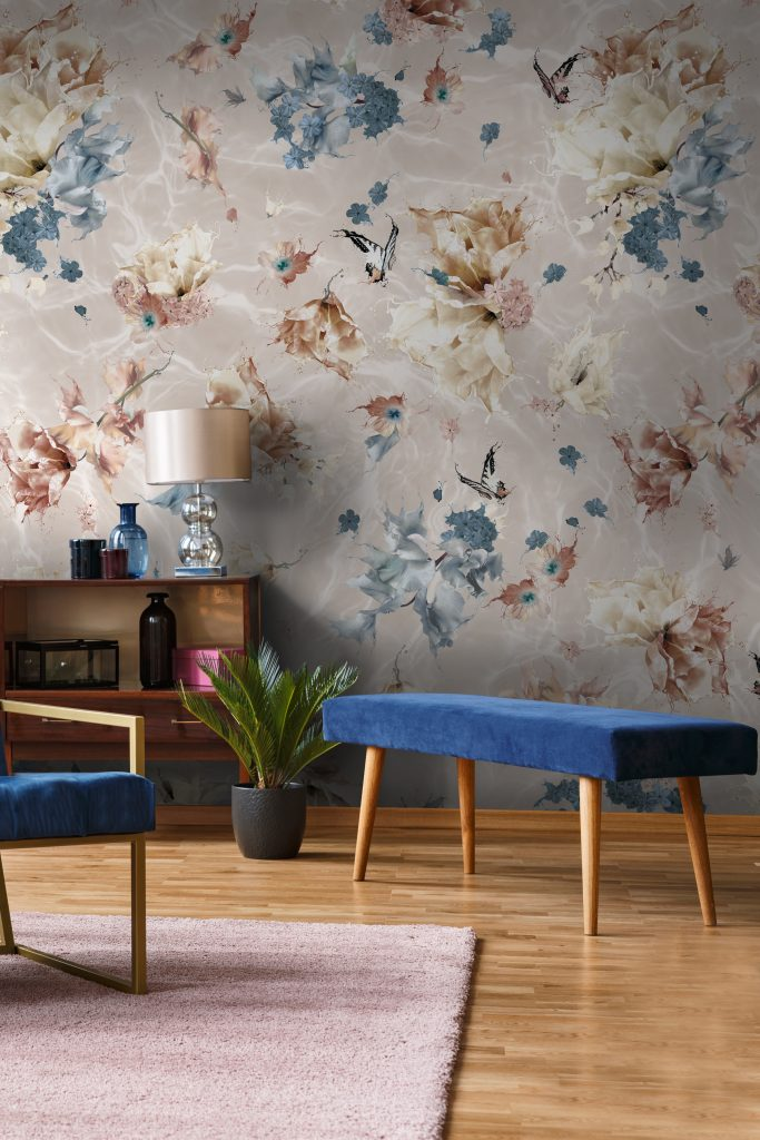 Luxury floral and butterfly designer interior decorating wallpaper. In warm custom colours of beige, navy blue, brown and white. Elegant, cozy and comfy pattern.