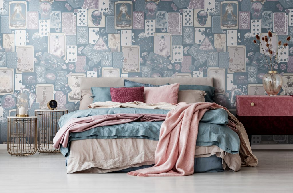 Trinket Three Tone Interior Wallpaper in customisable colours. Currently white, mauve purple, blue, beige and cream. Wall mural for interior decorating. Gorgeous Wallpaper for Interior Decorating. Quirky illustrations such as tarotcards, playing cards, rock n roll badges, trinket etc.