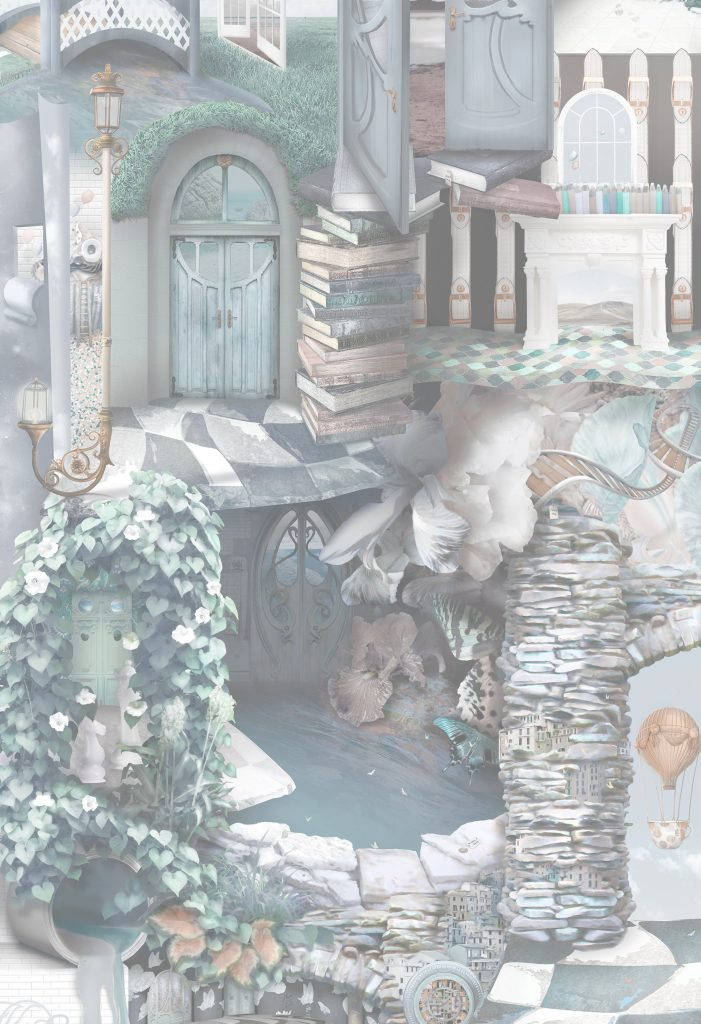 An incredibly detailed wallpaper wall mural inspired by Alice In Wonderland but revamped with a sophisticated vibe. Heron grey, blue, turquoise, copper, grey tones