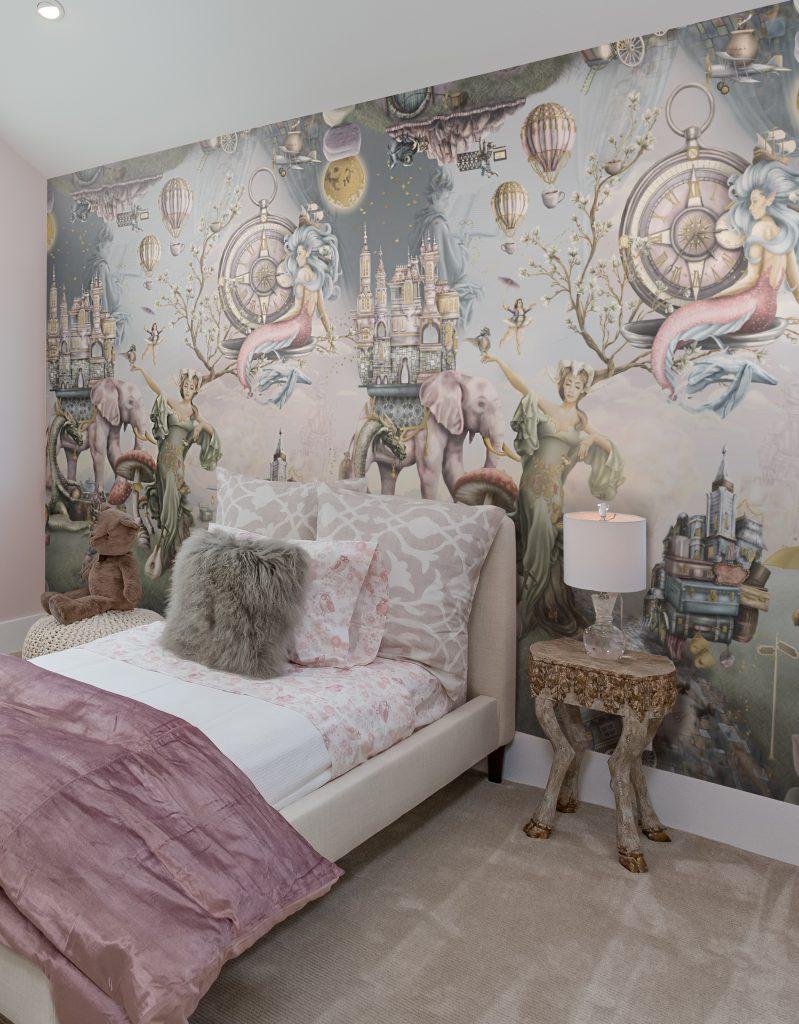 Girls fairy tale bedroom wallpaper