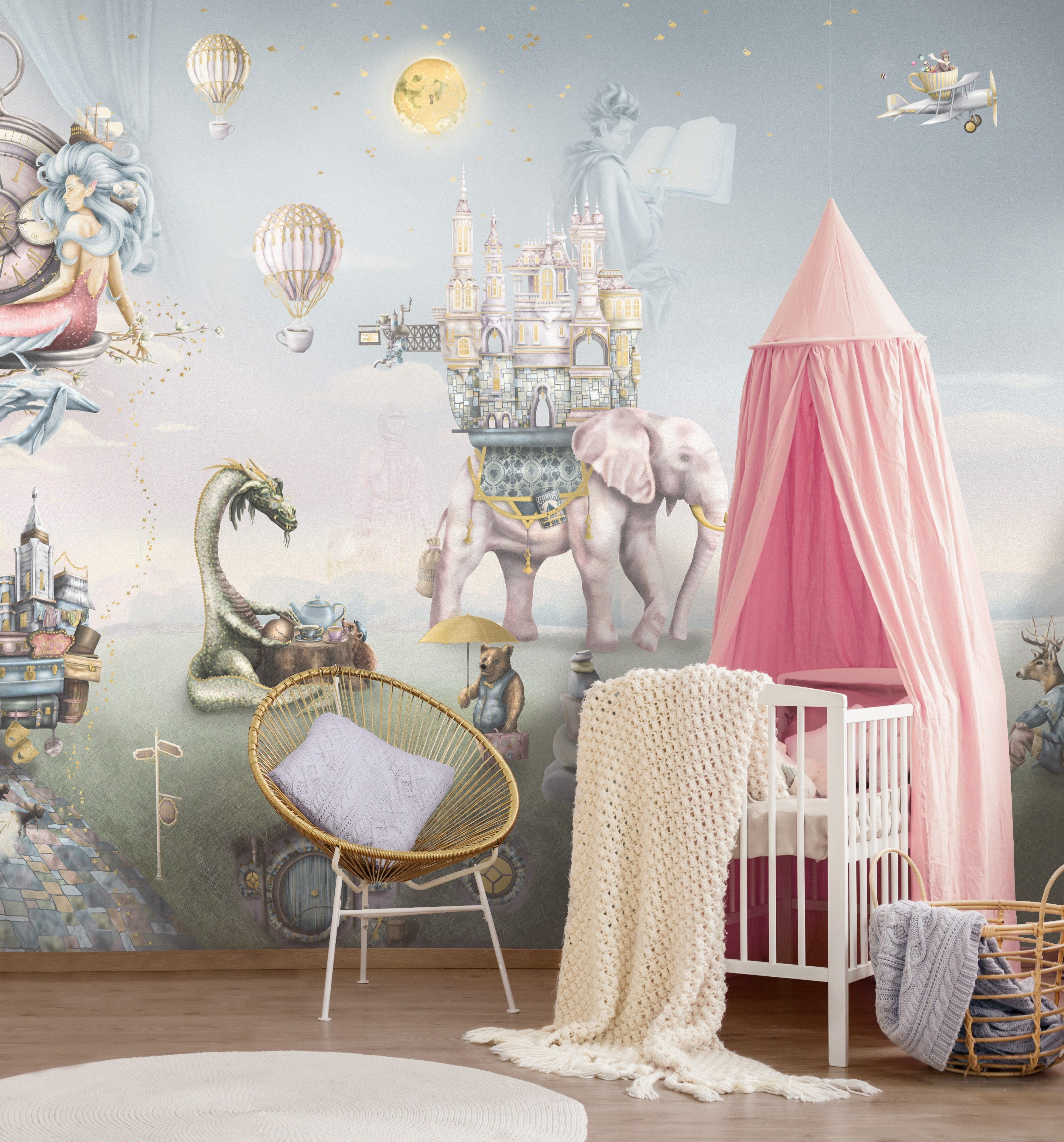 A fairy tale nursery design for a little girl. Features girls custom wall mural of fantasy woodland story book creatures. Styled with pink cot bed canopy and gold rattan chair.