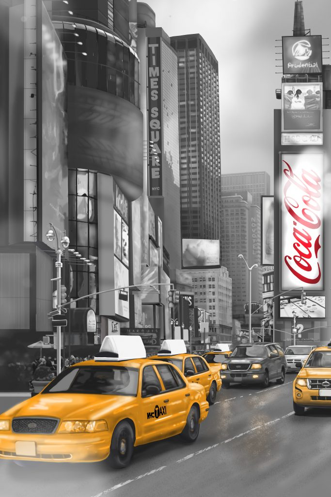 Detail of wallpaper Custom New York Times Square Cab, Coca cola sign, yellow and red, black and white, smoke