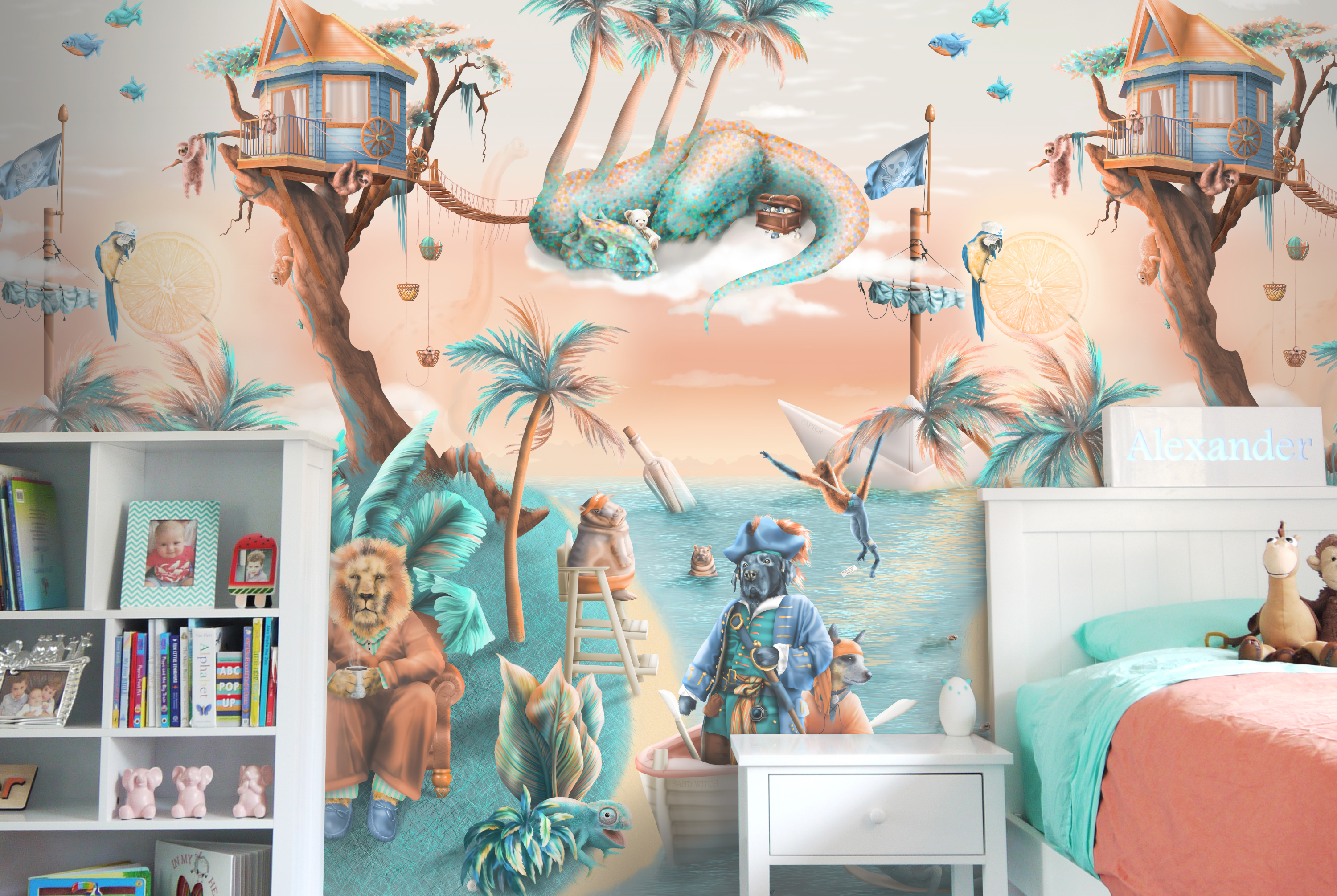 awesome Kids jungle explorer wallpaper and mural from australia. Features jungle animals in a tropical island design. Lions, hippo, dinosaurs, sloths and pirates! In colours of orange, beige, turquoise, aqua. brown, blue