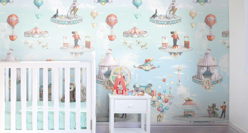 Kids Circus Wallpaper Wall mural for nursery or bedroom
