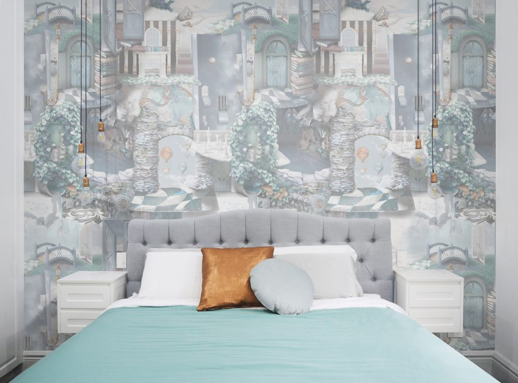 A stunning and unique designer statement interior decorating wallpaper wall mural inspired by Alice In Wonderland but revamped with a sophisticated vibe. In soft pastel grey blue colours of Heron grey, blue, turquoise, copper, grey tones