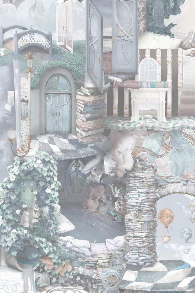 A beautiful and unique designer statement interior decorating wallpaper wall mural inspired by Alice In Wonderland. Featuring stones, tiles, doors, florals, vines, books and more! In soft pastel grey blue colours of Heron grey, blue, turquoise, copper, grey tones