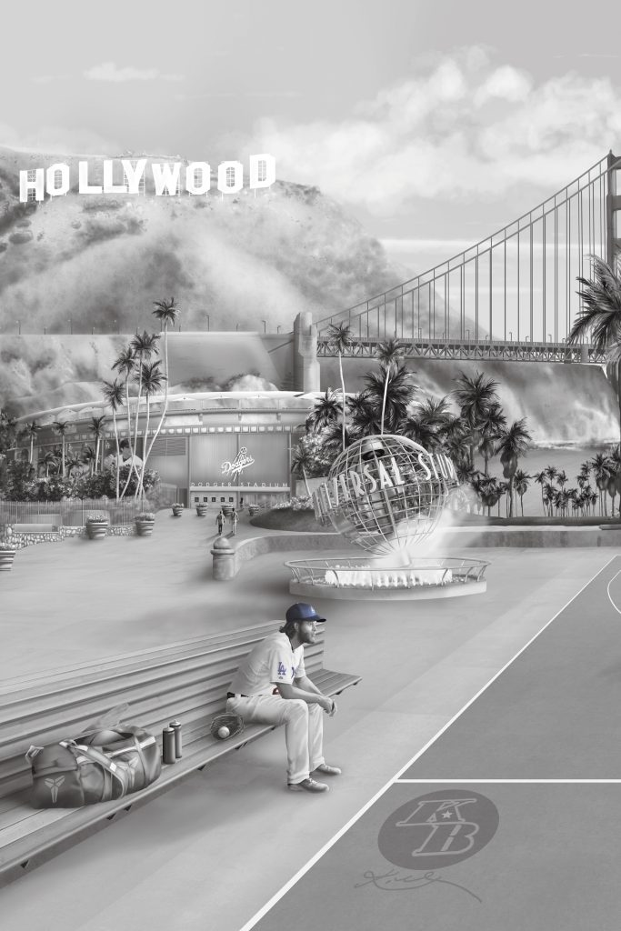 This is a custom Los Angeles wall Mural wallpaper design from australia. It features tributes to sport such as baseball, basketball, football themes. Including Kobe Bryant, Clayton Kershaw, Aaron Donald, Jalen Ramsey, Staples centre, dodgers. los angeles coliseum, Down town LA, Golden Gate Bridge, Hollywood sign.