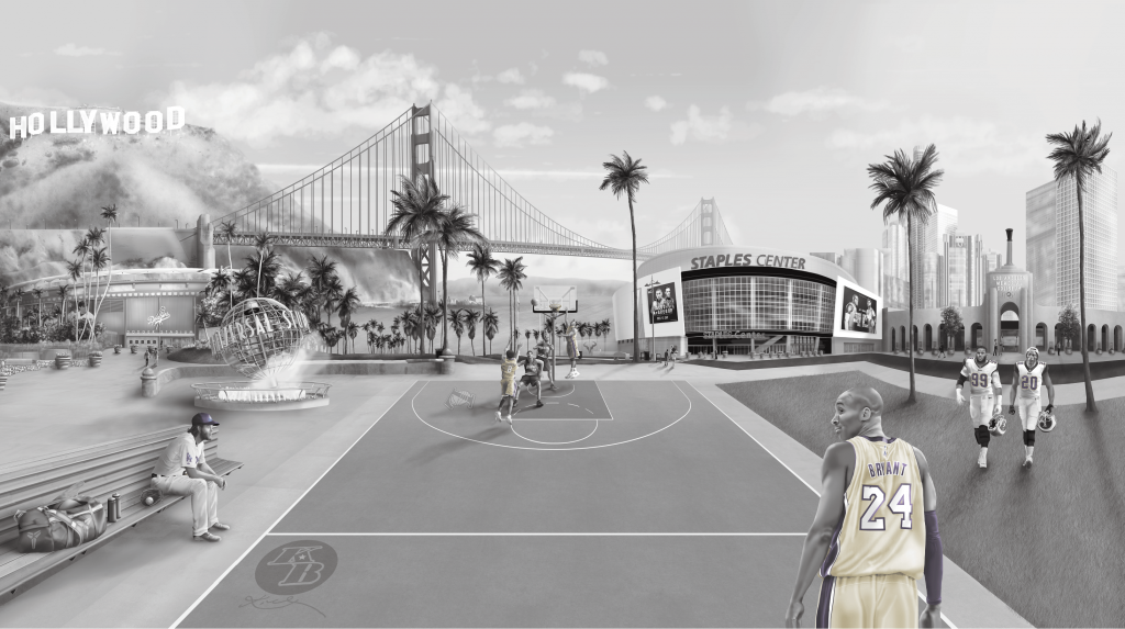 Los Angeles Sports interior wall mural decorating wallpaper Mural kobe, staples, Down town LA, Landscape, golden gate bridge, sports tribute, basketball, baseball, football