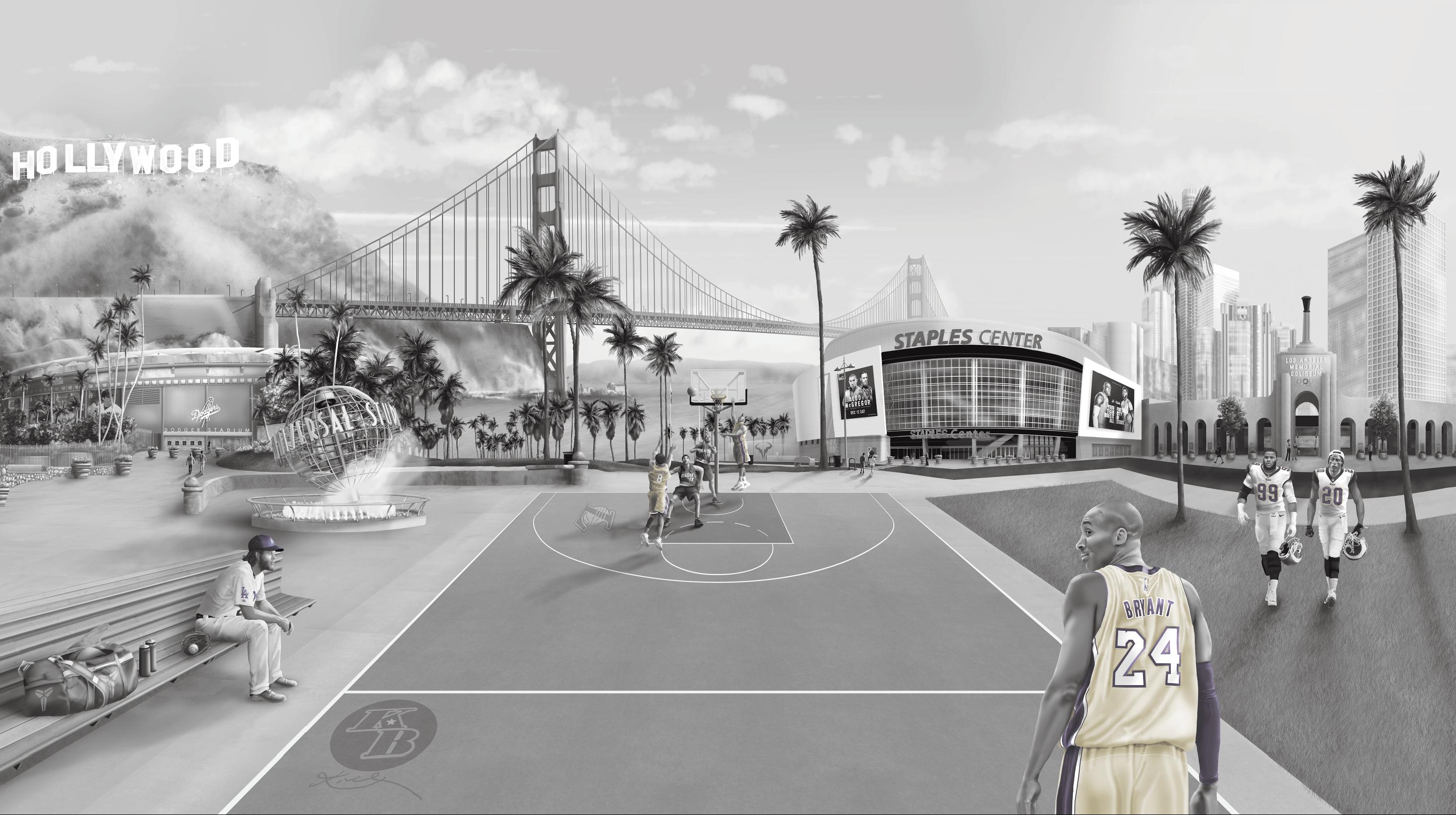 Los Angeles Sports interior wall mural decorating wallpaper Mural kobe, staples, Down town LA, Landscape, golden gate bridge, sports tribute, basketball, baseball, football
