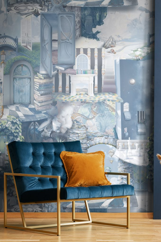 Wonderland Peacock Blue Teal Green White Vinyl Wallpaper using Paste-The-Wall installation. Luxury custom design is modern, interesting, unique and stunning. Picture shows teal blue statement accent chair with gold. Mustard cushion. Gold wood flooring. Wallpaper from Sydney Australia