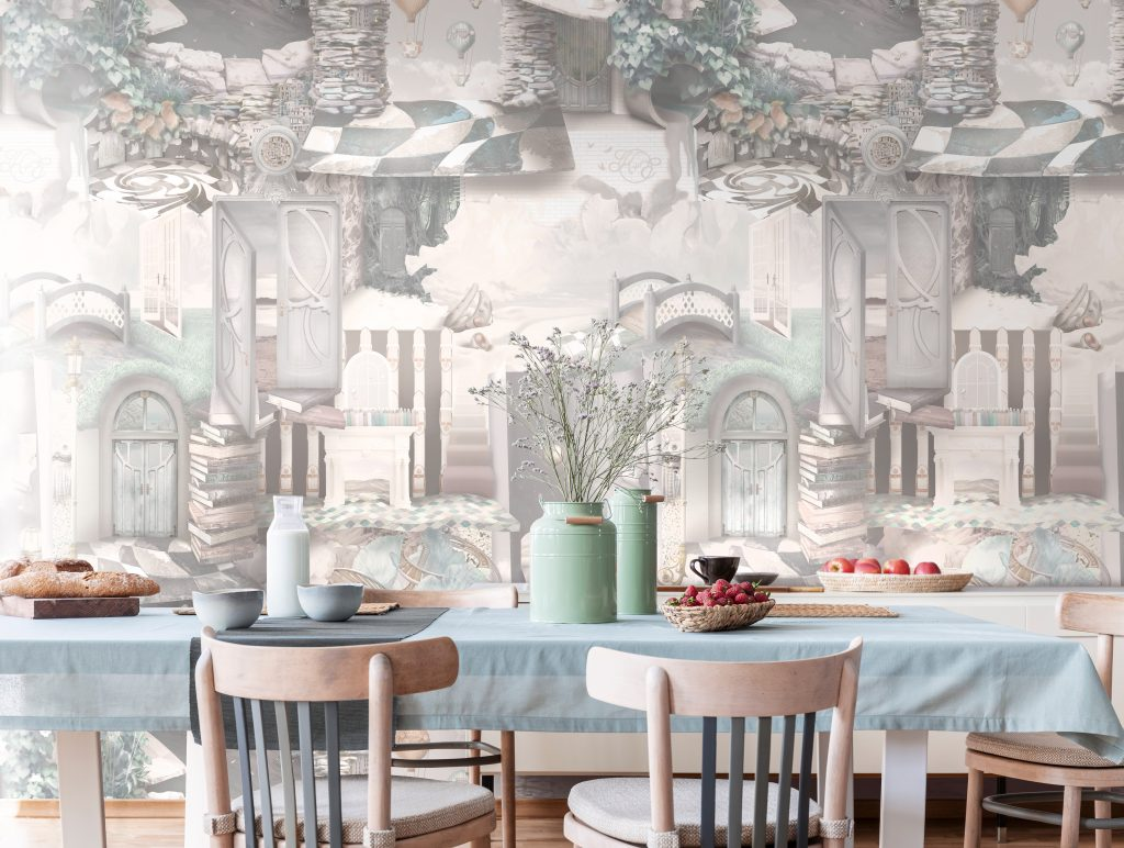 A unique, modern & fun wallpaper with warm colours for a cozy, inviting feel. This design is homely featuring a fun fantasy design for the whole family! In colours of beige, mint, sepia, brown, grey, blue