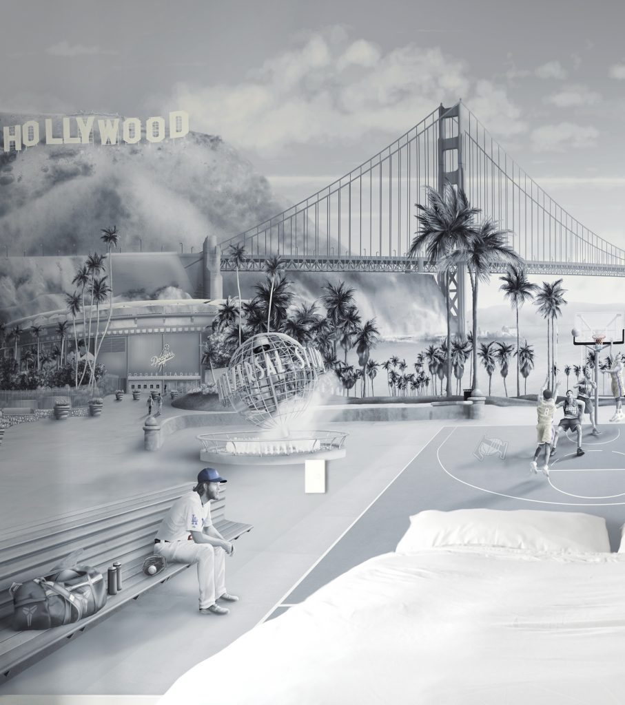 LA hollywood theme wall mural sports wallpaper. features universal studios globe, dodgers, golden gate bridge, lakers court in fantasy down town LA