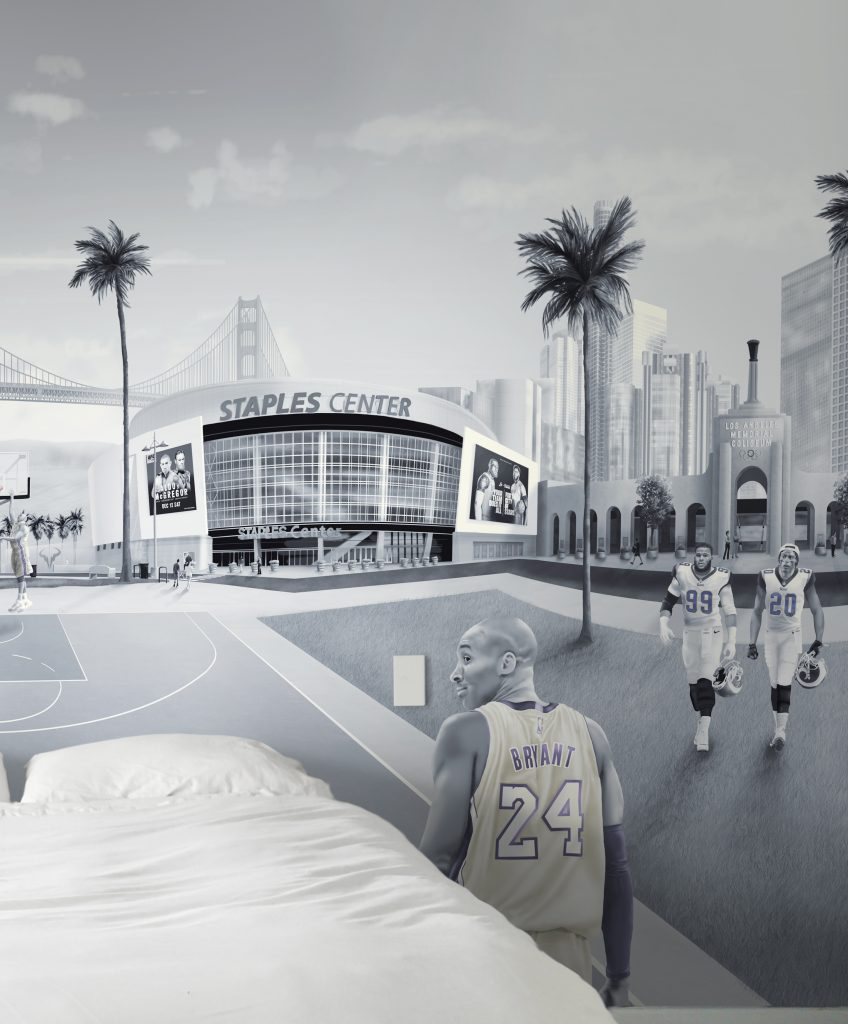 Los Angeles LA Sports wall mural wallpaper, premium vinyl wallpaper using paste-the-wall installation. Staples centre, kobe bryant and down town LA featured.